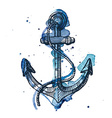 Watercolor and ink of an anchor vector image vector image