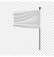white flag on flagpole mockup realistic style vector image vector image