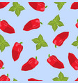 whole paprika with green foliage vector image