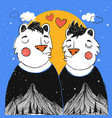 with kissing cartoon couple bears mountain vector image vector image