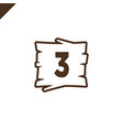 wooden alphabet blocks with number 3 in wood vector image vector image