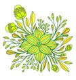 yellow lemon lime fantasy flower framed leaves vector image vector image