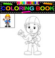 young man architect coloring book vector image