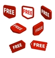 Set of red free tags buttons and icons for vector image