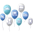 Social media communication background with flying vector image