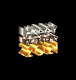 2021 happy new year number and text 3d gold logo vector image
