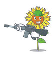 army sunflower character cartoon style vector image