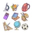 Back to School supplies and learning equipment vector image vector image