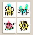bright summer cards on white background vector image vector image