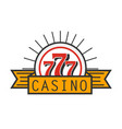 casino 777 advertising banner isolated on white vector image vector image