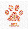 chinese new year 2018 dog paw icon shape card vector image vector image