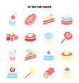 Collection of bakery and cake icons Candy sweet vector image