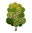 colorful silhouette leafy tree with pixels square vector image vector image