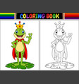 coloring book king frog cartoon vector image vector image