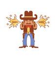 cowboy with guns wild west gunslinger shoots vector image vector image