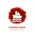 cruise icon - red watercolor circle splash vector image