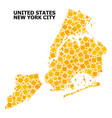 gold rotated square mosaic map new york city vector image