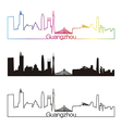 Guangzhou skyline linear style with rainbow vector image