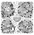 hawaii cartoon doodle designs set vector image