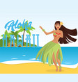 hawaiian hula dancer young pretty woman vector image vector image