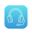 Headphone with microphone line icon vector image