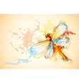 Horizontal Background With Orange Dragonfly vector image vector image