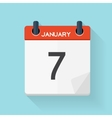 January 7 Calendar Flat Daily Icon vector image