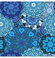 Lace blue seamless pattern on oriental style vector image