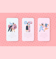 love story couple character mobile app screen set vector image