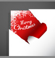 merry christmas paper corner cut out with vector image