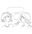 nice drawn two talking women lineart pop vector image