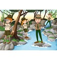 Park rangers standing at the waterfall vector image