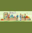 people shopping for their pets at pet shop vector image