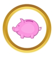 Pink piggy bank icon vector image