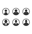 profile avatar signs user icon set with men vector image
