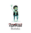 punk rocker zombie character in cartoon style vector image