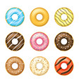realistic detailed 3d glazed donuts set vector image vector image