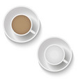 realistic top view coffee cup and saucer isolated vector image