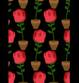 rose in pot seamless pattern home flower texture vector image vector image