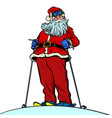 santa claus character on snow mountain merry vector image vector image