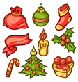 set merry christmas holiday symbols and object vector image vector image