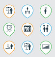 set of 9 administration icons includes solution vector image