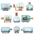 ship in bottle boat in miniature sailboat vector image vector image