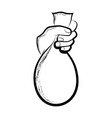 sketch of a hand holding a bag vector image