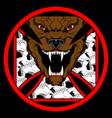 spooky pitt bull roars with skulls hand vector image vector image