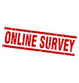 square grunge red online survey stamp vector image vector image
