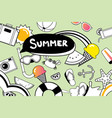summer doodles symbol and objects icon elements vector image vector image