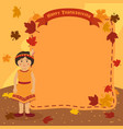 thanksgiving indian girl notes background vector image vector image