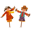 Two scarecrows look like human boy and girl vector image vector image