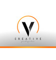 v letter logo design with black orange color cool vector image vector image